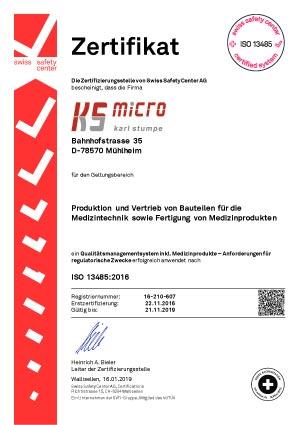 Zertifikat-ISO-13485 CNC-Unternehmen ks-Micro