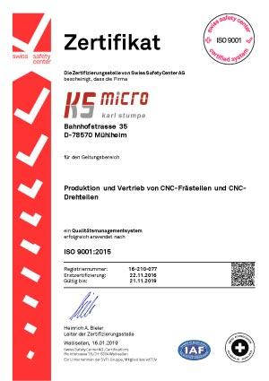 Zertifikat-ISO-9001 CNC-Unternehmen ks-Micro